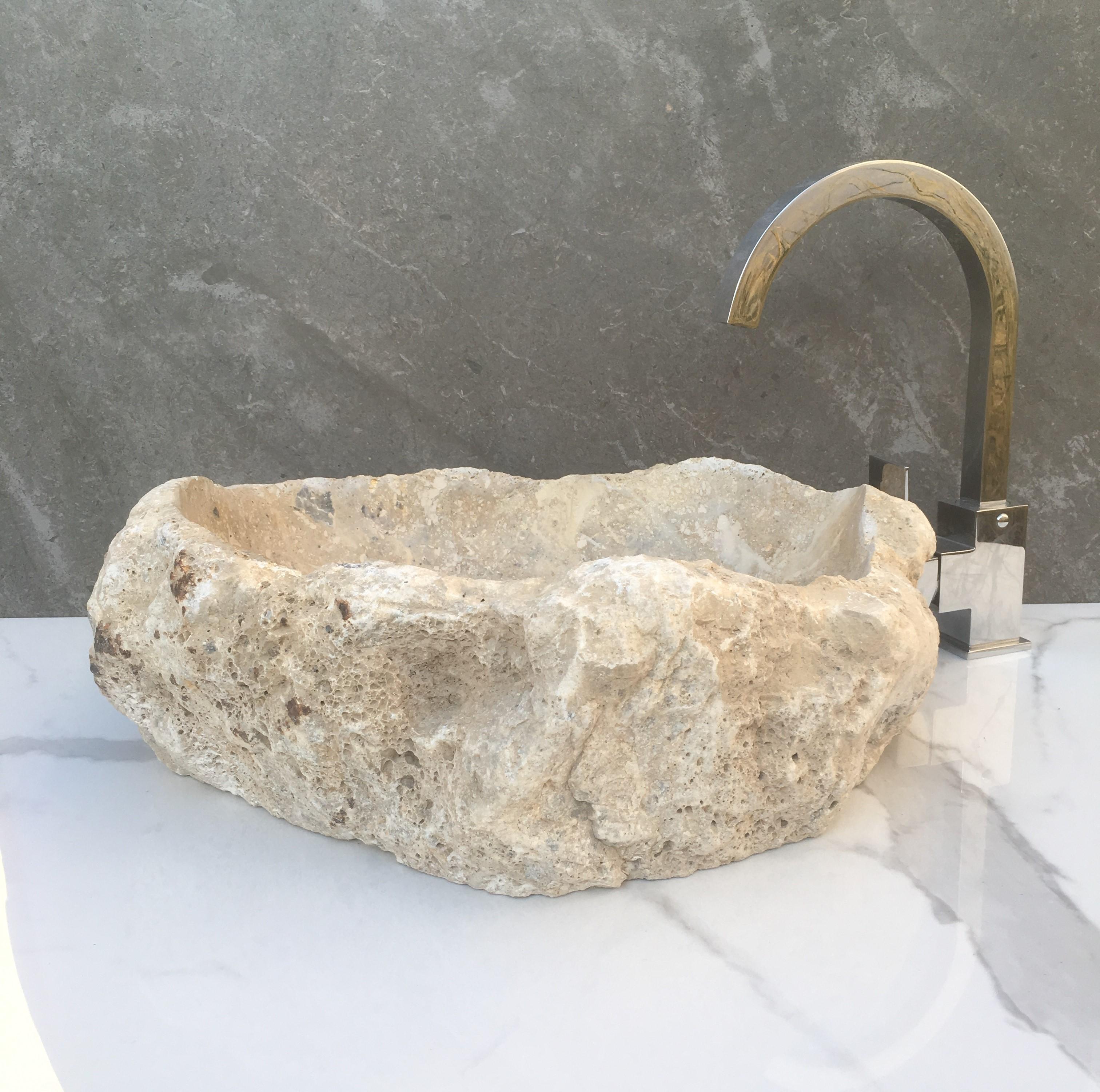 Lavabo de piedra natural mod rustico nokone design stone - Lavabos de piedra rusticos ...